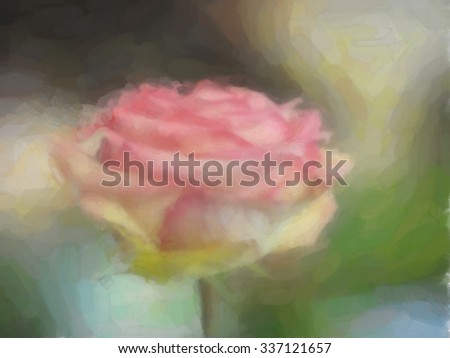 watercolor pink rose blur background - stock photo