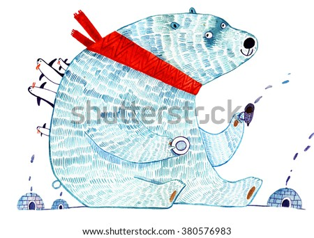 watercolor polar bear, cartoon illustration isolated on white background - stock photo