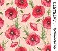 Watercolor poppy flowers, seamless pattern - stock photo