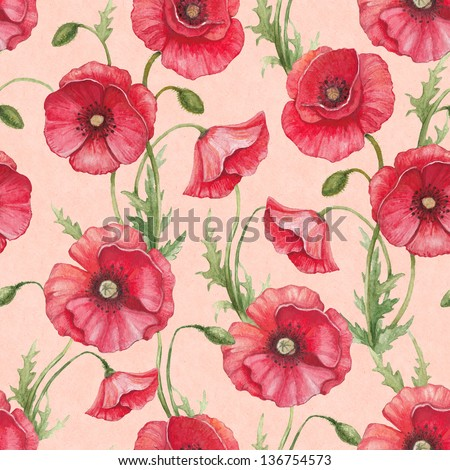 Watercolor poppy flowers, seamless pattern - stock photo
