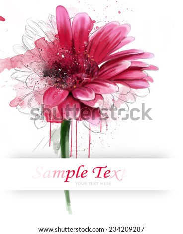 watercolor postcard with gerberas and text greetings - stock photo