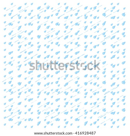 Watercolor rain. Blue drops isolated on white background. - stock photo