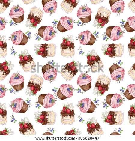 Watercolor Raster texture with blueberries cupcakes and strawberry cake. - stock photo