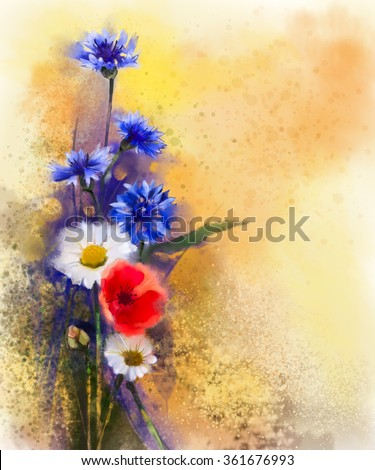 Watercolor red poppy flowers, blue cornflower and white daisy painting. Flower paint in soft color and blur style, Soft light yellow brown texture background. Spring floral seasonal nature background  - stock photo
