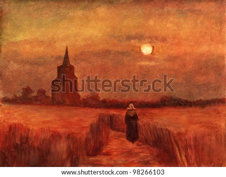 "Watercolor reproduction from the Vincent van Gog oil painting ""The Old Tower in the Fields"" - stock photo"