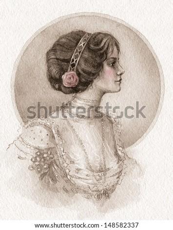 Watercolor retro fashion illustration. Beautiful stylish lady. - stock photo