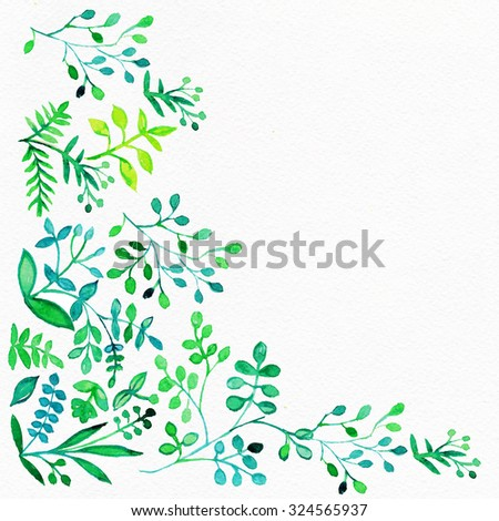 """Watercolor Retro pattern with trees. Tree Pattern.  Pattern with watercolor graphic which can be used as wallpaper. Autumn layout. Watercolor background flower. Album """"Autumn surfaces"""". - stock photo"""