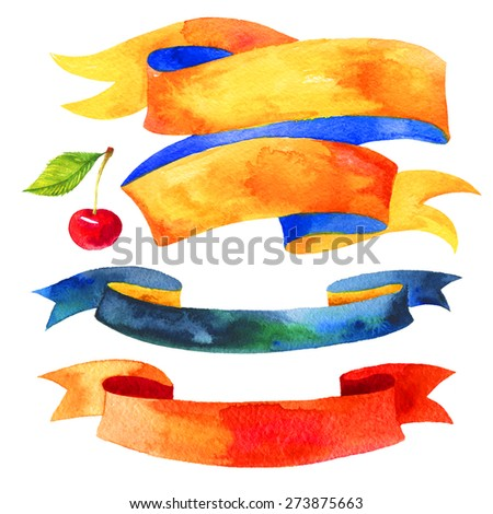 Watercolor ribbons and banners for text. Collection of Watercolor design elements, backgrounds, cherry, ribbons . Hand drawn abstract colorful stripes. - stock photo