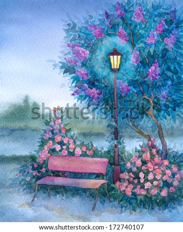 Watercolor romantic landscape. Glowing lantern near the bench in the twilight of the spring flowering park - stock photo