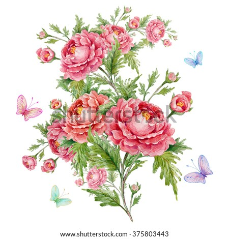 Watercolor rose bouquet with butterflies - stock photo