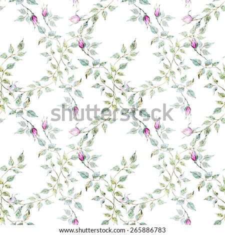 watercolor, rose, pattern, vintage, wallpaper, pattern, background, flowers - stock photo