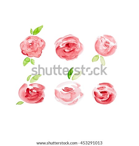 Watercolor Roses (hand painted) - stock photo