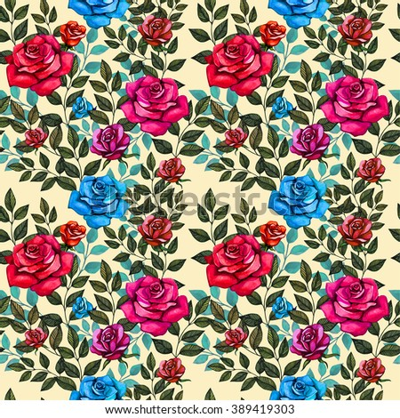 Watercolor roses pattern on yellow background - stock photo