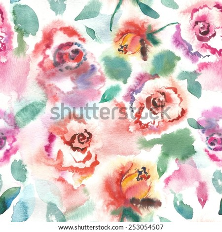 Watercolor roses seamless pattern - stock photo