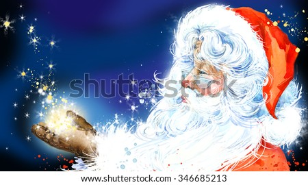 Watercolor Santa Claus. Santa Claus Christmas background. New Year background. - stock photo