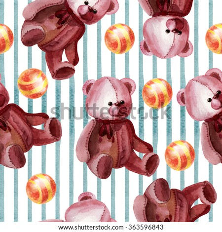 Watercolor seamless background cute bear - stock photo