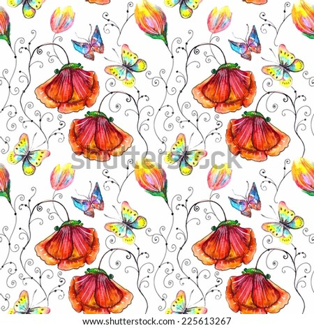 Watercolor seamless floral illustration for beautiful design with poppy and butterfly - stock photo