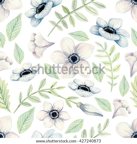Watercolor seamless floral pattern. Background for web pages, wedding invitations, save the date cards. - stock photo