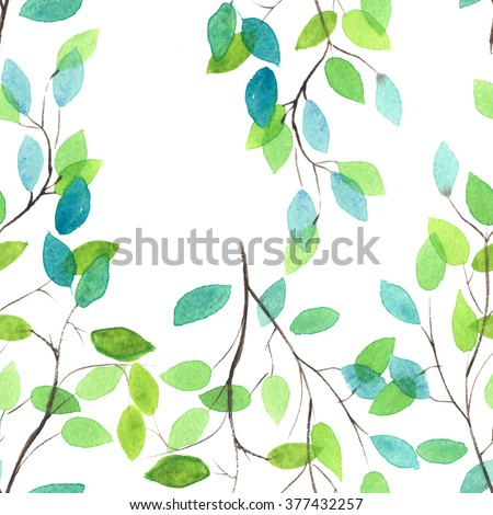 Watercolor seamless floral pattern. Flowers texture. - stock photo