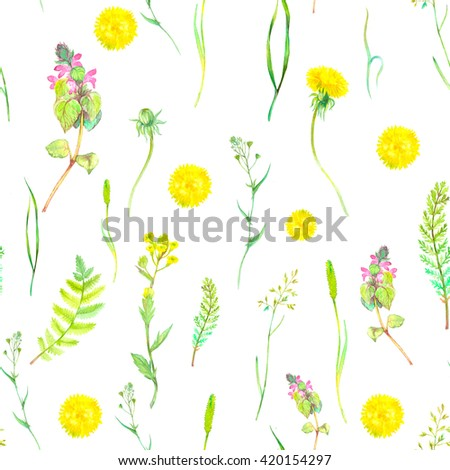 Watercolor seamless floral pattern with wild herbs and flowers. Hand painting botanical illustration for print, wrapping, fabric and other seamless natural design. Watercolor wild flowers and herbs. - stock photo