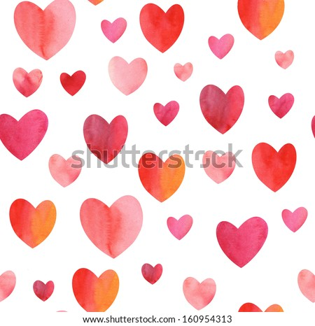 Watercolor seamless hearts pattern - stock photo