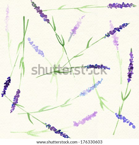 Watercolor seamless lavender pattern - stock photo