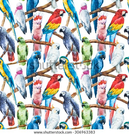 watercolor seamless pattern bright parrot tropical wallpaper, bird cockatoos, Greys, macaws, white background, seamless fashion print with a parrot with palm leaves and flowers - stock photo
