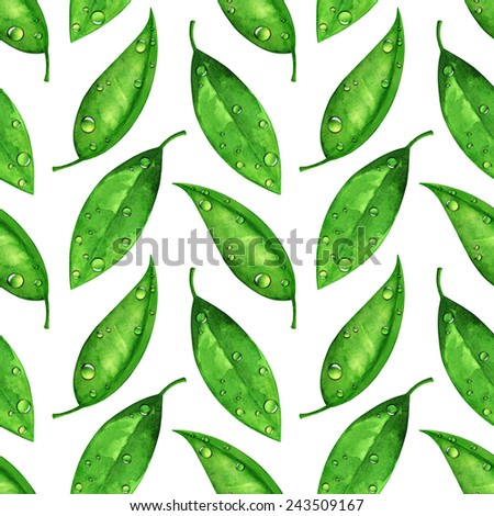 Watercolor seamless pattern, green leaves with water drops, dew on white background - stock photo