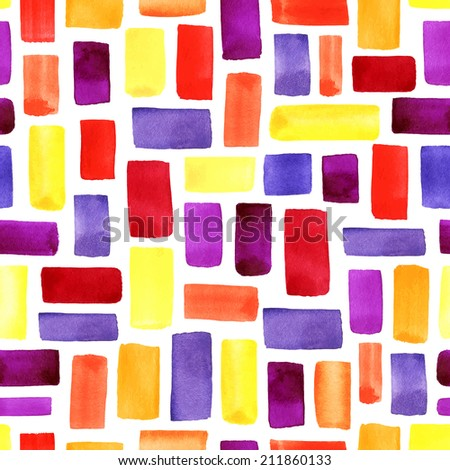 Watercolor seamless pattern. Mosaic geometric background. Hand drawn pattern. Modern abstract wallpaper.  - stock photo