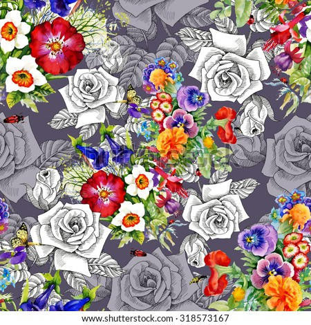 Watercolor seamless pattern on purple background with roses, violets and other flowers. Background for web pages, wedding invitations, save the date cards - stock photo