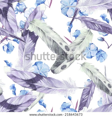 Watercolor seamless pattern set with feathers - stock photo