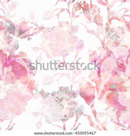 Watercolor seamless pattern .Watercolor seamless bright background from picturesque tropical flowers Fabric for summer tropical holiday Flower background with roses   - stock photo