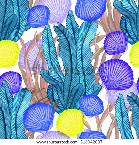 Watercolor seamless pattern with closeup sea shells, seaweed. Hand painting on paper  - stock photo