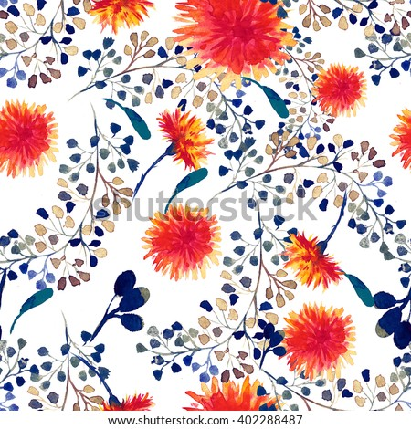 Watercolor seamless pattern with dandelion. Floral background.  - stock photo