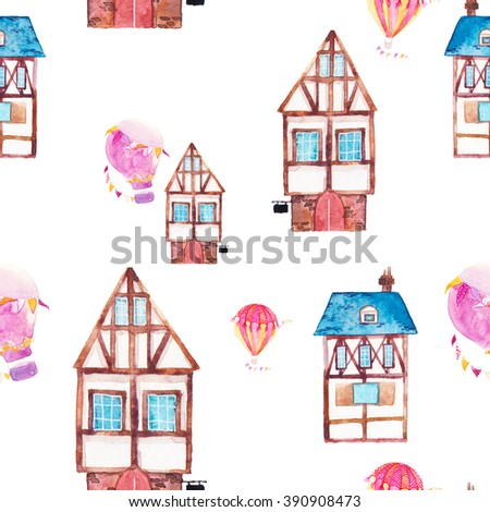 Watercolor seamless pattern with fantasy houses and hot air balloons. Hand drawn old buildings and carnival air balloons with party garlands isolated on white background. Artistic wallpaper design - stock photo