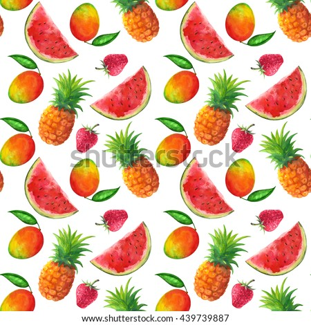 Watercolor seamless pattern with fruits and berries, pineapples, mango, watermelon, strawberry on white background. Hand painting on paper - stock photo