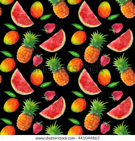 Watercolor seamless pattern with fruits and berries, pineapples, mango, watermelon, strawberry on black background. Hand painting on paper - stock photo