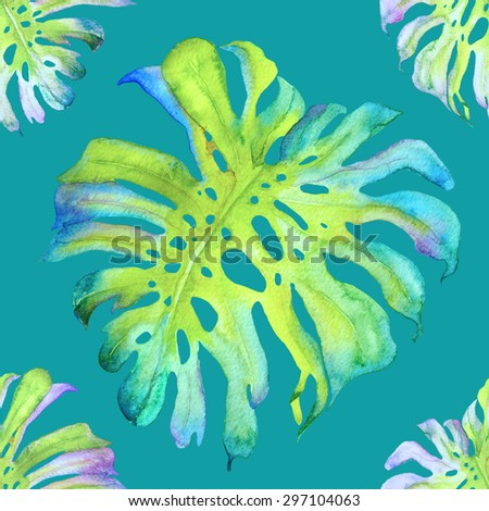 Watercolor seamless pattern with monstera leaf. Exotic allover print with tropical leaves. Boho background. - stock photo