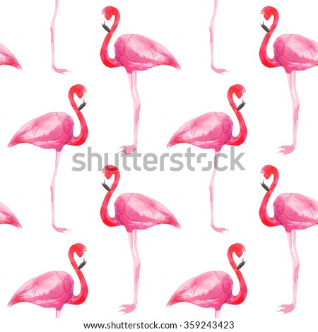 Watercolor seamless pattern with pastel pink flamingos. Decorative figure. Suitable for printing on fabric - stock photo