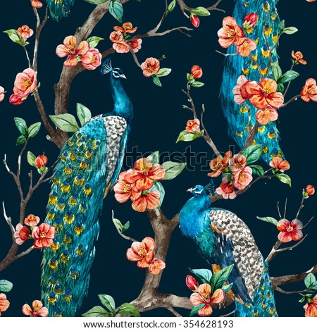 watercolor seamless pattern with peacock on a tree cherry, flowering trees, tree with flowers - stock photo