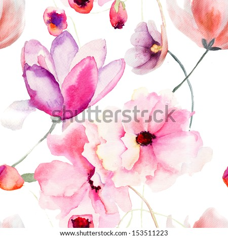Watercolor seamless pattern with Pink flowers  - stock photo