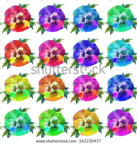 Watercolor seamless pattern with rainbow pansies.  Hand drawn flowers. Raster illustration. - stock photo