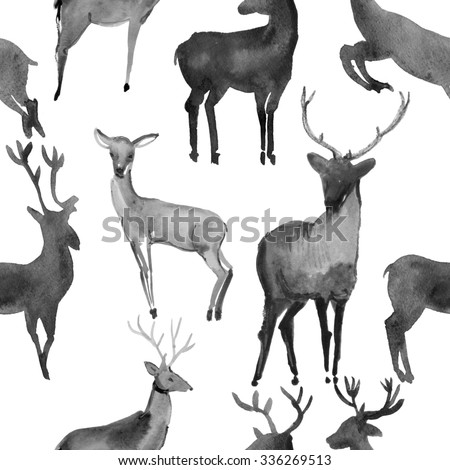 Watercolor seamless pattern with Snow white deer, Vintage Merry Christmas and Happy New Year illustration. Black and white background. - stock photo
