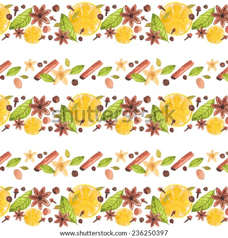 Watercolor seamless pattern with spices.  Aquarelle hand drawn background for blog, web design, scrapbooks, party invitations and wedding cards. - stock photo