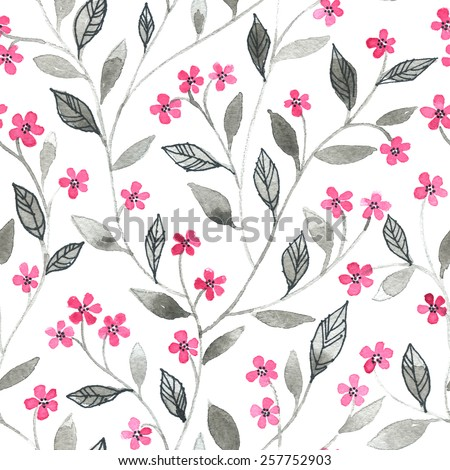 Watercolor seamless pattern with styled spring cherry blossoms - stock photo