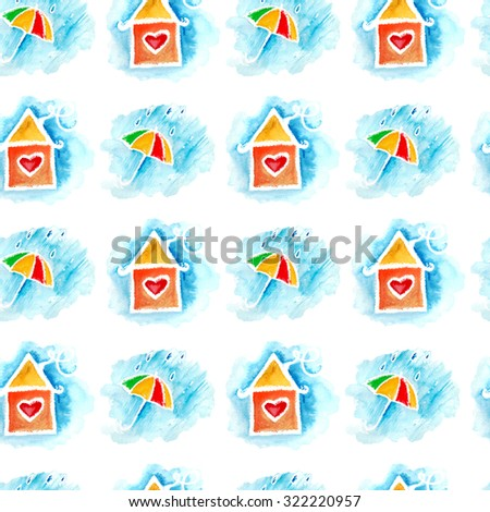 watercolor seamless pattern with umbrella and cute house. It can be used for wallpaper, fabric design, textile design, cover, wrapping paper, banner, card,   pattern fills, web page backgrounds - stock photo