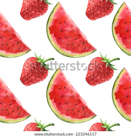 Watercolor seamless pattern with watermelons and strawberry on a white background - stock photo