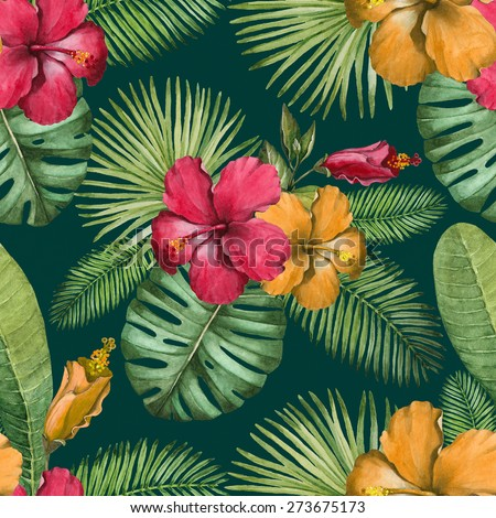 Watercolor seamless tropical pattern - stock photo