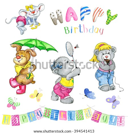 Watercolor set. Lovely greeting card Happy Birthday with Teddy  Bears, Mousy and Puppy - stock photo