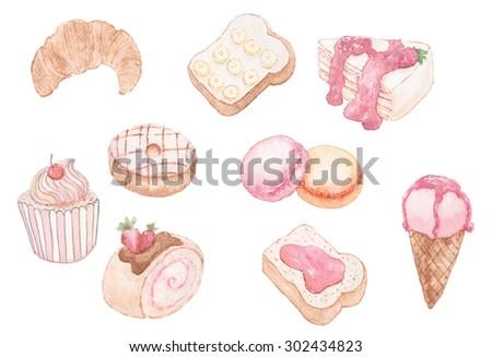 Watercolor set of sweet dessert. - stock photo